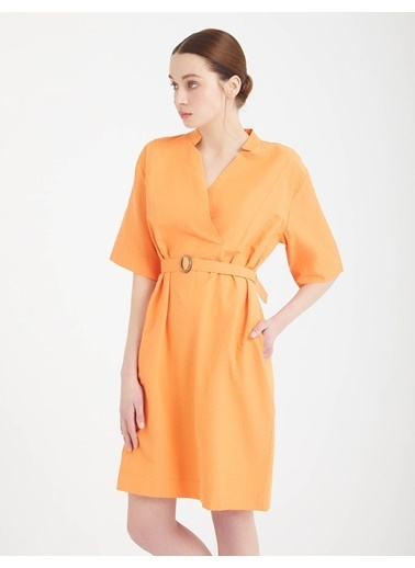 BGN Turuncu - V Yaka Poplin Elbise Oranj